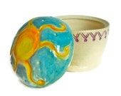 Sunburst ,Jar, Lidded, Sun,Ceramic Stoneware,Hand Carved,Wedding Gift, Housewarming gift,Hostess gift