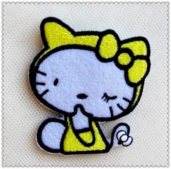 Embroidery Applique  -Hello Kitty cat clothes patch posted diy children's clothing embroidery cloth (1pcs)