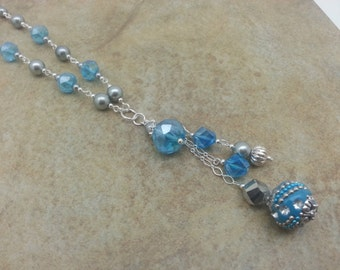 Blue and Silver Swarovski Crystal and Pearl Faux Lariat Necklace - Glass Pearl, Crystal Beads, Hand Wired,