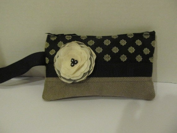 Black and Gray Wristlet with Cream Flower