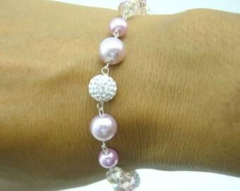 Sterling silver bracelet,crystal ball bracelet.