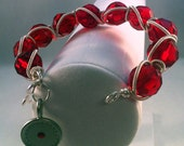 OOAK Ruby red silver plated coiled bracelet