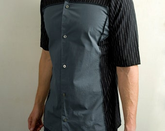 Futuristic dress shirt in gray & black