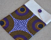iPad, Laptop Sleeve Case // African Print, Purple and Brown Circles // Custom Orders are Available