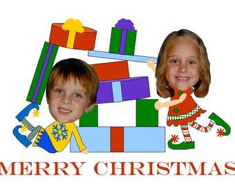 Funny Family Photo Christmas Card - Santas Elves - Printable, Digital, Unique, Fun, Custom