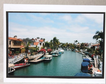 photo card, Naples Island, Long Beach, California, canals, blue