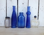Vintage Cobalt blue vases glass bottles with blue lids by MellaFina