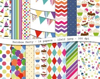 Rainbow Party - colorful digital scrapbooking paper pack -14 printable jpeg papers, 12x12, 300 dpi - instant download