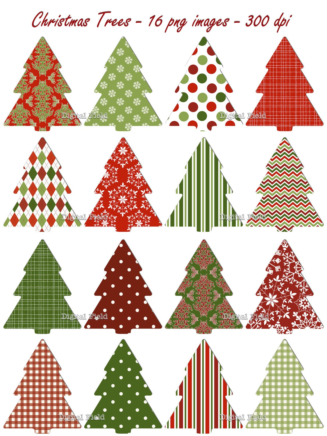 Christmas Tree clip art set red green patterned by ...
