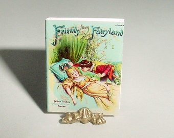 Miniature Dollhouse Book - Fairy Tales - FRIENDS from FAIRYLAND - Raphael Tuck and Sons - One Inch 1/12 Scale Dollhouse Miniature Accessory