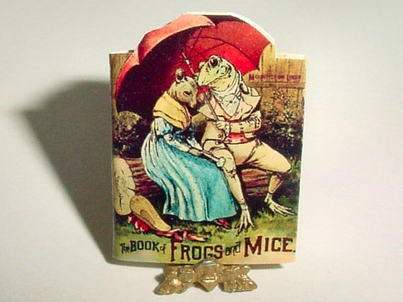 Dollhouse Miniature  BOOK of FROGS and MICE, McLoughlin Bros 1892 - One Inch 1/12th Scale Shape, Childrens Book Miniature Accessory