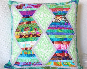 Quilted Pillow Cover - Abstract, Modern, OOaK 18""