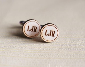 monogrammed wood cuff links