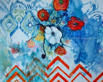 """Archival Print of Original Watercolor Painting """"Ikat White Poppy with Sapphire and Tangerine Chevron"""""""