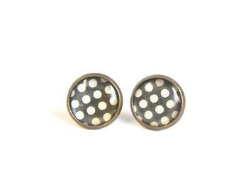 Tiny stud earrings black and white polka dots earrring studs ear post