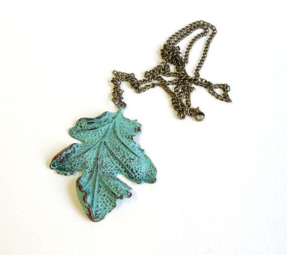 Patina leaf necklace