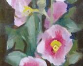 Hollyhock Garden Landscape Oil Painting on Gallery Wrap Canvas 6 x 12 x 1.5