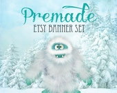 Etsy Banner Set - Premade Etsy Banner - Etsy Shop Banner -Abominable Snowman Etsy Banner Set 179 - Icon Included
