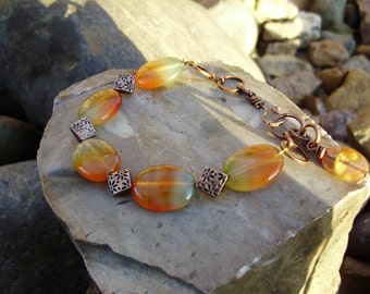 Beautiful Agate and Antique Copper Bracelet-7-8-9 inch adjustable