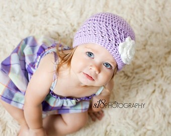 Baby Girl Crochet Flower Hat, Toddler Girl Hat, Purple, White Flower