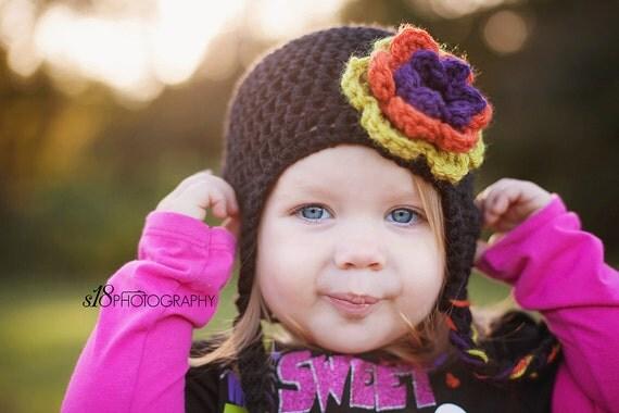 Baby Girl Crochet Hat, Toddler Girl Crochet Hat, Halloween Hat, Black, Orange, Green, Purple