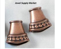 2pcs-15x16mm antique copper, flat cones, spacers,  antique, vintage style, beads, connectors, large copper beads
