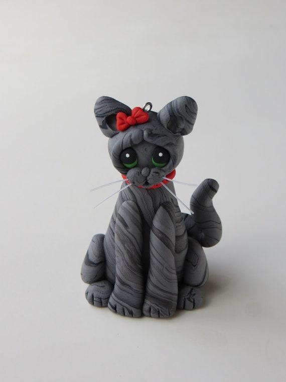 Polymer clay cat Christmas ornament figurine gray striped tabby