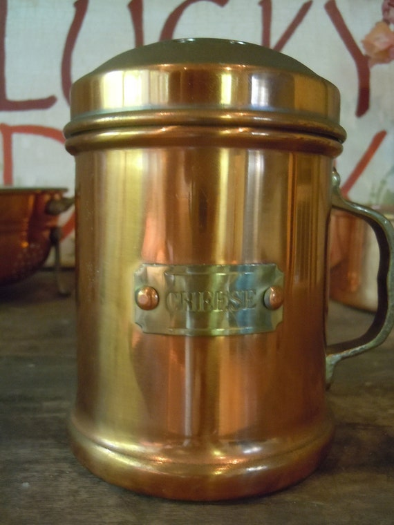 Decorative Copper Plated Cheese Shaker with Brass Handle