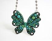 "Fun Jewelry / OOAK, large butterfly pendant, handmade polymer clay pendant / ""Butterfly Kiss"" /"