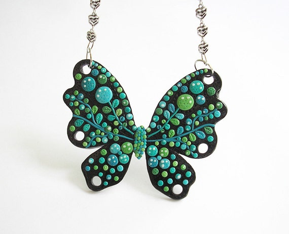 "Fun Jewelry / OOAK, large butterfly pendant, handmade polymer clay pendant / ""Butterfly Kiss"" /"