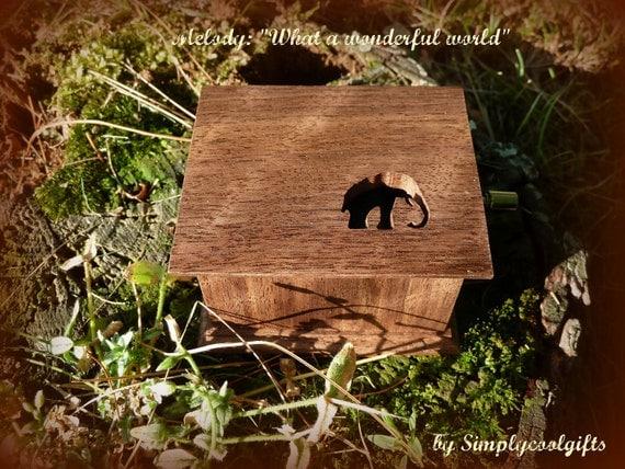 Elephant, Hand crank music box, wooden music box, handmade music box, music box, last minute gift