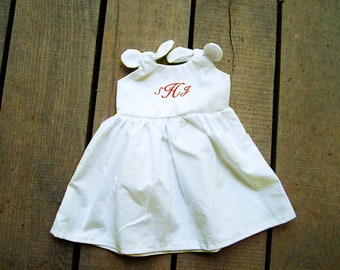 White Monogrammed knot dress preemie, newborn 0-3, 3-6, 6-12,12-18, 18-24 months, 2t  dress coming home outfit christening baptism,