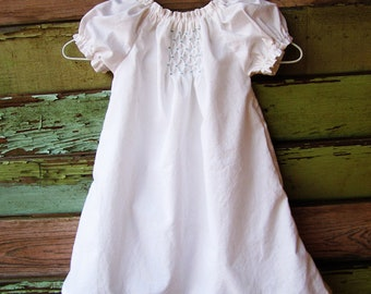 Hand Smocked dress, summer dress, baby girls, simple, heirloom coming home outfit, baptismal gown, affordable christening gown