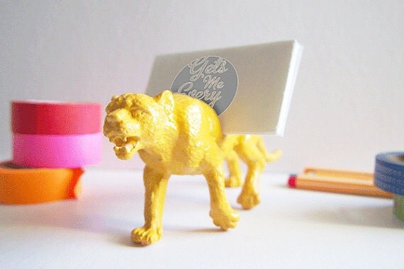 Golden Yellow Wildcat Business Card Holder // Painted Toy Animal // Stocking Stuffer