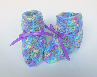 Baby Boy Booties Infant Girl  Slippers 3 To 6 Months Children Purple  Blue Yellow Crochet Shoes With Ribbon Ready To Ship