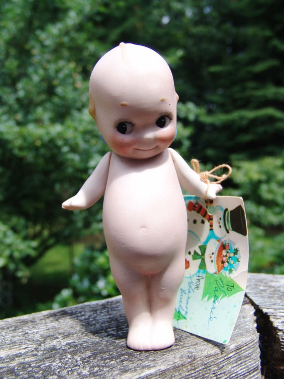 "Vintage Early 1915-1930 Porcelaine Bisque Rose O'Neill 5"" Kewpie Doll"