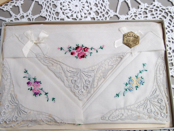 Vintage Boxed Set Of Ladies Floral Swiss Handkerchiefs Hankies Orlana Pink Purple Blue Embroidered Hankies with Beautiful Lace