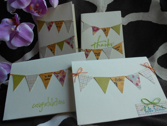 RESERVED for Kone The Pretty Pennant Collection, set of 4 greeting cards, note card set, assorted all-occasion cards