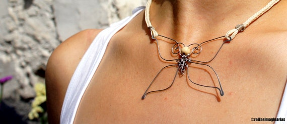 wire butterfly necklace with white macramé braid