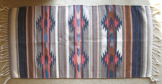 Vintage Mexican Woven Wool Rug