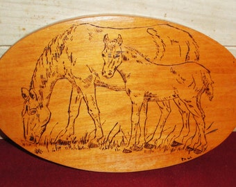 SALE!! - Vintage Handmade Etched Wood Plaque - Horses - Home Decor -  Art - Horse Collectibles - Wall Art
