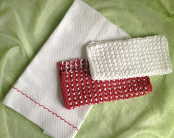 Tea towel and dishcloth set, red and white