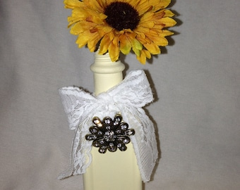 Darling Vintage Bottle  with Vintage Lace and a Rhinestone Brooch - Upcycled Vase - Cream Color