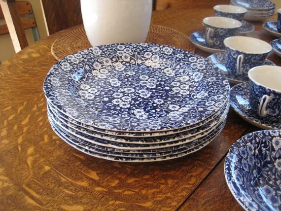 TREASURY ITEM Crownford China- Calico Blue Dinner Plates (8) Blue and White Chintz china - Vintage China