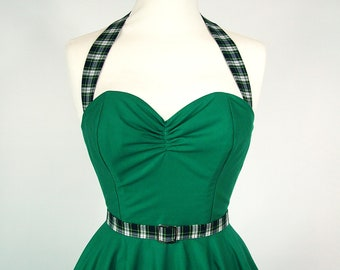 Made To Measure Green And Tartan Full Circle Skirt Dress - Detachable Straps & Belt