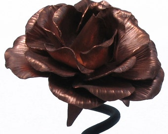 Copper and Steel Rose Sculpture
