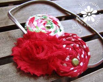 HOLIDAY Girls Headband -Boutique style - Shabby Chic - red and green - fits babies to teens