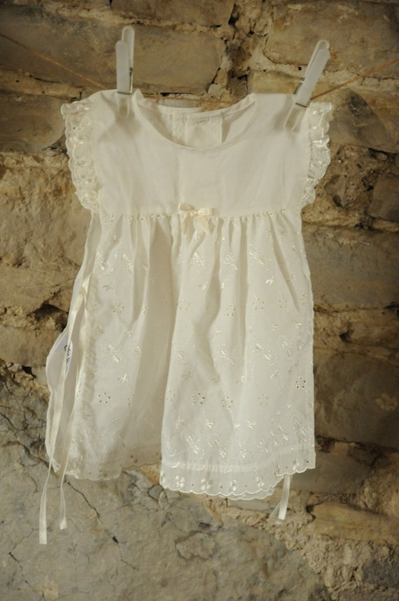 Vintage baby Christening dress / Baptism gown / apron 1980s -90s Beautiful white baby dress Bridesmaid dress