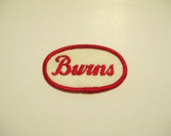 "Vintage Embroidered Name Patch - ""Burns"""