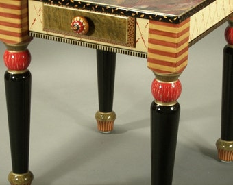 End Table-Turned Legs: Tomato-Susan Goldstick Knob, Custom Made-To-Order